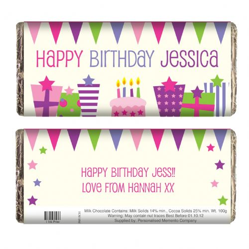 Personalised Pink Birthday Presents Chocolate Bar